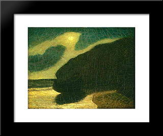Moonlit Cove: Modern Black Framed Art Print by Albert Pinkham Ryder
