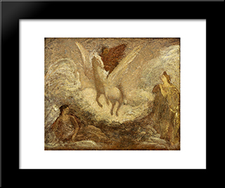 Pegasus Departing: Modern Black Framed Art Print by Albert Pinkham Ryder