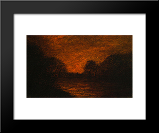 Pond In Moonlight: Modern Black Framed Art Print by Albert Pinkham Ryder