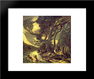 Siegfried And The Rhine Maidens: Modern Black Framed Art Print by Albert Pinkham Ryder