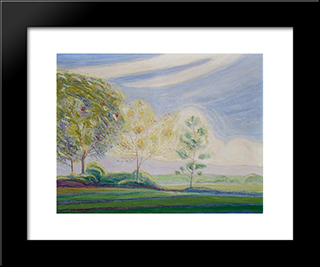 Dream Landscape With A Group Of Trees: Modern Black Framed Art Print by Albert Trachsel