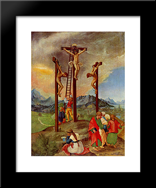Crucifixion: Modern Black Framed Art Print by Albrecht Altdorfer