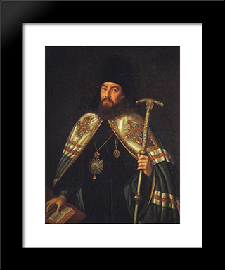 Portrait Of Archbishop Gavriil Petrov: Modern Black Framed Art Print by Aleksey Antropov