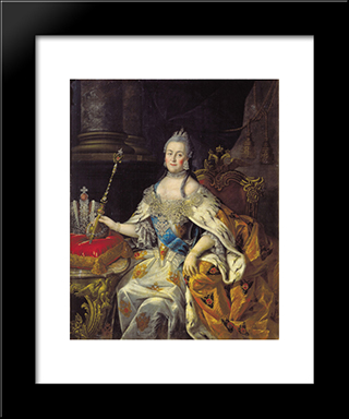 Portrait Of Catherine Ii: Modern Black Framed Art Print by Aleksey Antropov