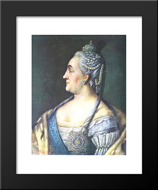 Portrait Of Catherine Ii The Great: Modern Black Framed Art Print by Aleksey Antropov