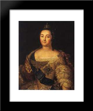 Portrait Of Elizabeth Of Russia: Modern Black Framed Art Print by Aleksey Antropov