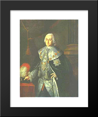 Portrait Of General In Chief, Count William W.Fermor: Modern Black Framed Art Print by Aleksey Antropov