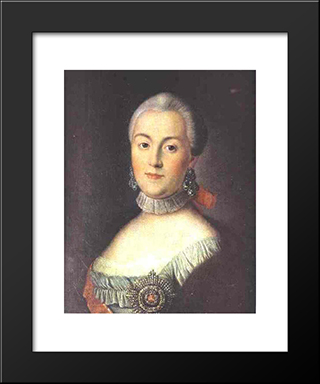 Portrait Of Grand Duchess Catherine Alekseevna, Future Empress Catherine Ii The Great: Modern Black Framed Art Print by Aleksey Antropov