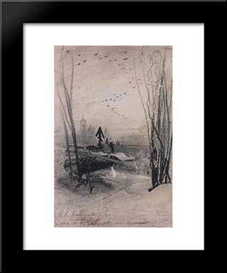 At The Cemetery: Modern Black Framed Art Print by Aleksey Savrasov