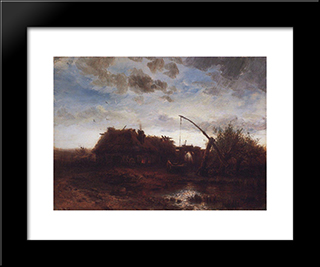 At The Well: Modern Black Framed Art Print by Aleksey Savrasov