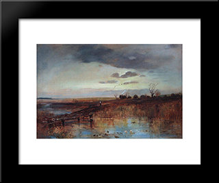 Autumn. Village Near The Stream: Custom Black Wood Framed Art Print by Aleksey Savrasov