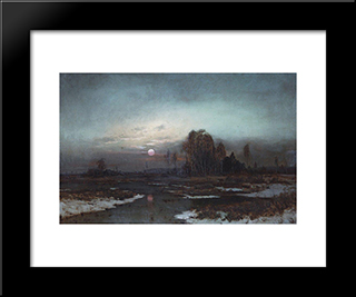 Autumn Landscape With A Swampy River In The Moonlight: Modern Black Framed Art Print by Aleksey Savrasov