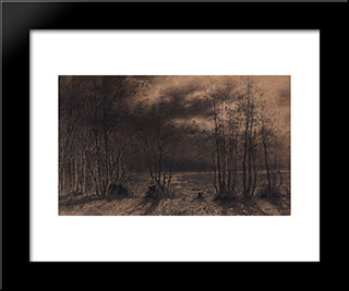 Autumn Night: Modern Black Framed Art Print by Aleksey Savrasov