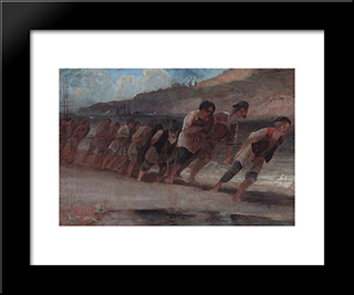 Barge Haulers On The Volga: Modern Black Framed Art Print by Aleksey Savrasov