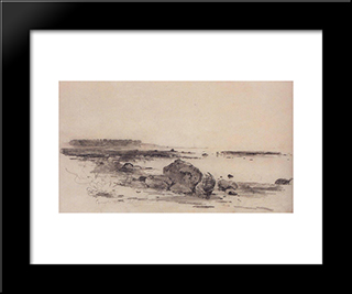 Beach: Modern Black Framed Art Print by Aleksey Savrasov