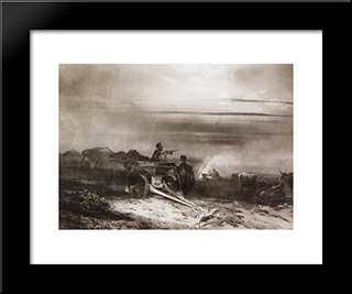 Bivouac In The Desert Convoy Chumakov: Modern Black Framed Art Print by Aleksey Savrasov