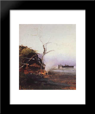 Bonfire Of The River: Modern Black Framed Art Print by Aleksey Savrasov