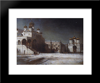 Cathedral Square In The Moscow Kremlin At Night: Modern Black Framed Art Print by Aleksey Savrasov