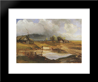 Country Scene: Modern Black Framed Art Print by Aleksey Savrasov