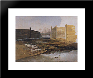 Courtyard. Spring.: Custom Black Wood Framed Art Print by Aleksey Savrasov