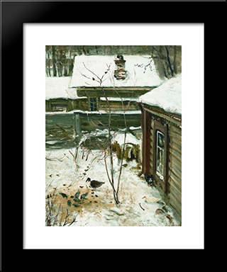 Courtyard. Winter.: Custom Black Wood Framed Art Print by Aleksey Savrasov