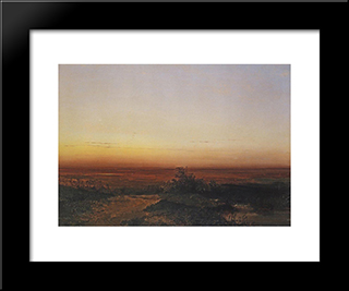 Dawn In The Desert: Modern Black Framed Art Print by Aleksey Savrasov