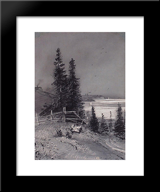 Descent To The River: Modern Black Framed Art Print by Aleksey Savrasov