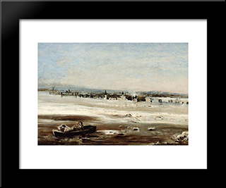 Drifting Ice On The Volga: Modern Black Framed Art Print by Aleksey Savrasov