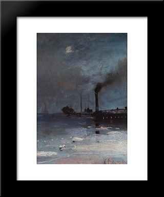 Drifting Of Ice: Modern Black Framed Art Print by Aleksey Savrasov