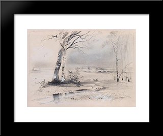 Early Spring. Birches By The River: Custom Black Wood Framed Art Print by Aleksey Savrasov