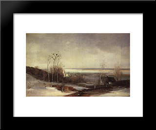Early Spring. Dali: Custom Black Wood Framed Art Print by Aleksey Savrasov