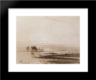 Early Spring. Flood: Custom Black Wood Framed Art Print by Aleksey Savrasov