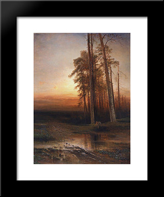 Evening: Modern Black Framed Art Print by Aleksey Savrasov