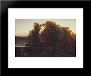 Evening Landscape: Modern Black Framed Art Print by Aleksey Savrasov