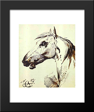 Head Of A Horse: Modern Black Framed Art Print by Alexander Orlowski