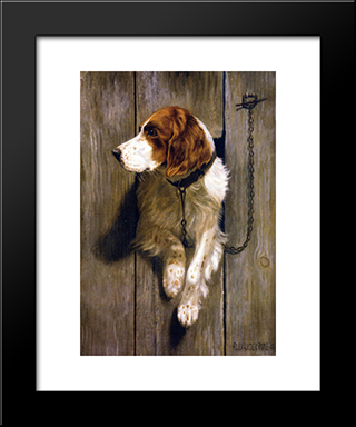 At The Kennel Door: Custom Black Wood Framed Art Print by Alexander Pope