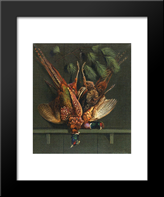 Hanging Pheasants: Modern Black Framed Art Print by Alexander Pope