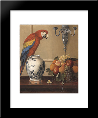 Still Life Of Macaw, Chinese Vase And Fruit: Custom Black Wood Framed Art Print by Alexander Pope