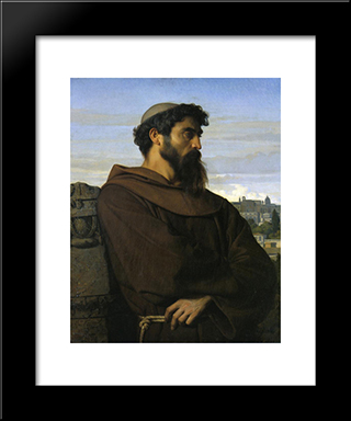 A Thinker, A Young Roman Monk: Modern Black Framed Art Print by Alexandre Cabanel
