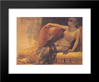 Cleopatra, Preparatory Study For 'Cleopatra Testing Poisons On The Condemned Prisoners': Modern Black Framed Art Print by Alexandre Cabanel