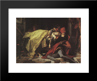 Death Of Francesca Da Rimini And Paolo Malatesta: Modern Black Framed Art Print by Alexandre Cabanel