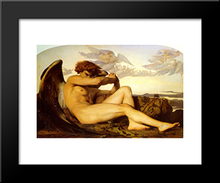 Fallen Angel: Modern Black Framed Art Print by Alexandre Cabanel