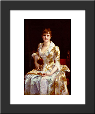 Portrait Of Young Lady:  Modern Black Framed Art Print by Alexandre Cabanel