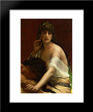 Samson And Delilah:  Modern Black Framed Art Print by Alexandre Cabanel
