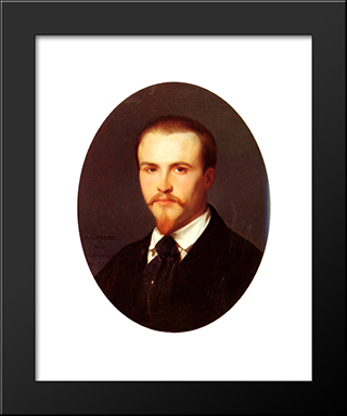 Self-Portrait:  Modern Black Framed Art Print by Alexandre Cabanel