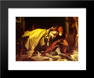The Death Of Francesca De Rimini And Paolo Malatesta:  Modern Black Framed Art Print by Alexandre Cabanel