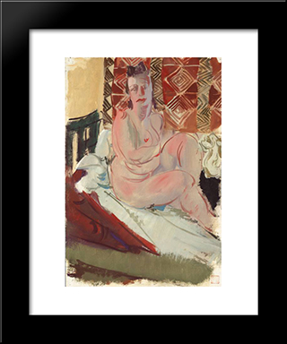 A Model Seated On A Bed:  Modern Black Framed Art Print by Alexandre Jacovleff