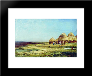 Ablyazov. Threshing:  Modern Black Framed Art Print by Alexey Bogolyubov