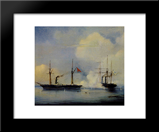 Action Between Russian Steam Firgate Vladimir And Turkish Steam Frigate Pervaz In Bahri Of November5, 1853:  Modern Black Framed Art Print by Alexey Bogolyubov