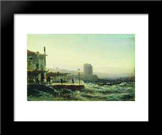 Baku. Embankment:  Modern Black Framed Art Print by Alexey Bogolyubov